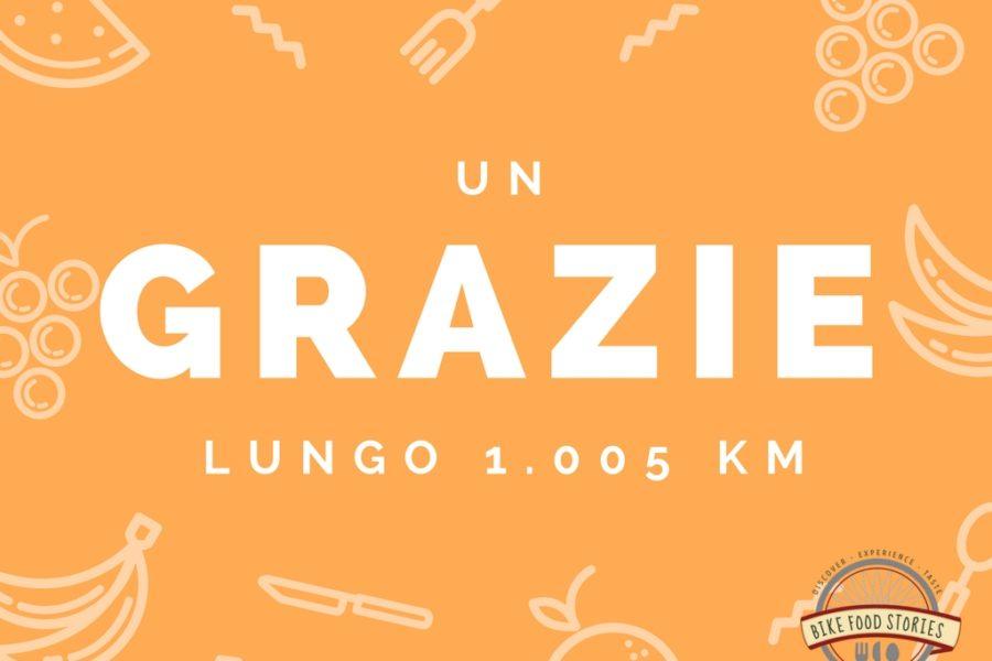 Un GRAZIE lungo 1.005 km